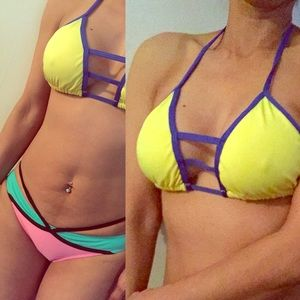 Other - Size S/M Yellow/Blue Triangle Bikini Top