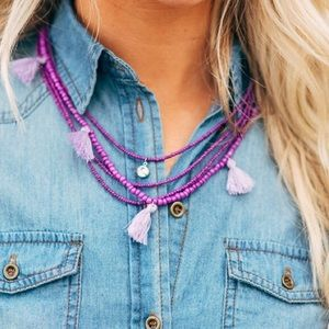 Three Bird Nest Jewelry - Boho set multilayer tassles necklace and earrings