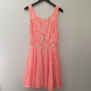 Guess Dresses & Skirts - Guess Neon Lace Cut-out Dress