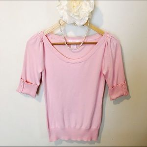 Sweaters - 💟Pink short sleeve shirt with button detail