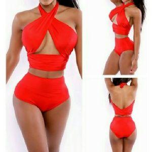 Other - High Waist Swimsuit Crossover Bandage Bikini Set F