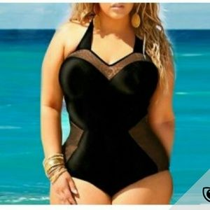 Other - Black Mesh Patchwork Sweetheart Neck One Piece Swi