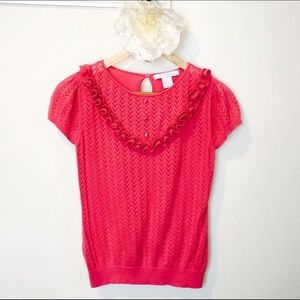 Sweaters - Pink short sleeve top with Ruffles