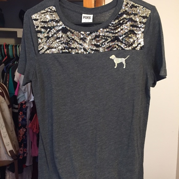 c81052f97a32a Victoria's Secret PINK bling short sleeve shirt