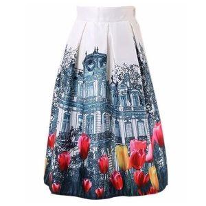 Boutique Dresses & Skirts - White Black Red Amsterdam Tulip Full Midi Skirt