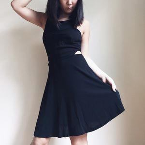 Bebe Black Cutout Dress with Front Mesh Panel