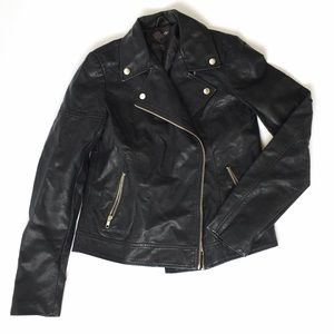 MOTO Biker Faux Leather Black Jacket