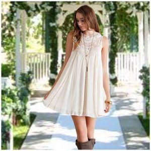 Dresses & Skirts - Boho Natural Ivory Baby Doll Dress
