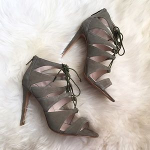 Victoria's Secret Shoes - Green Leather Suede Lace Up Heels