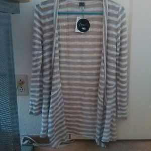 Brown and white stripe cardigan