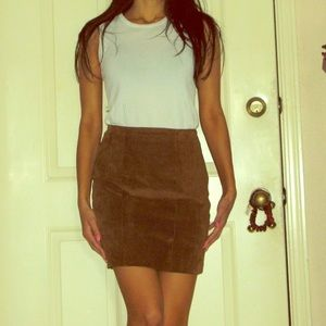 Brown suede mini skirt size small