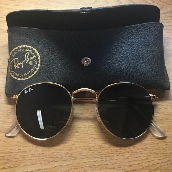 23df3f1fe0 Ray-ban round glasses. Black and gold. Brand new. M 571c0f7eeaf030befb00fb0d