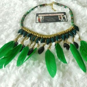 Jewelry - LIME YOU FEATHER AND TASSEL STATEMENT NECKLACE