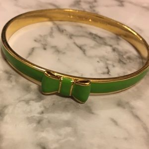 Cute green gold Kate spade bow bracelet bangle