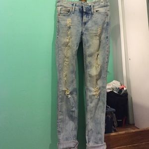 H&M skinny low waist ripped jeans