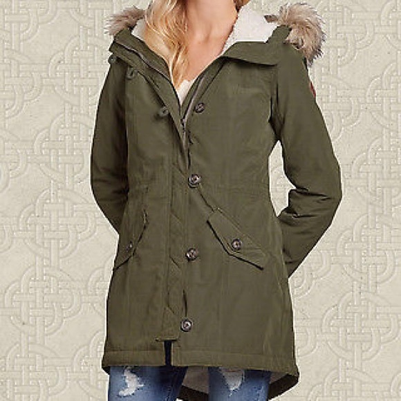 hollister parka coat womens