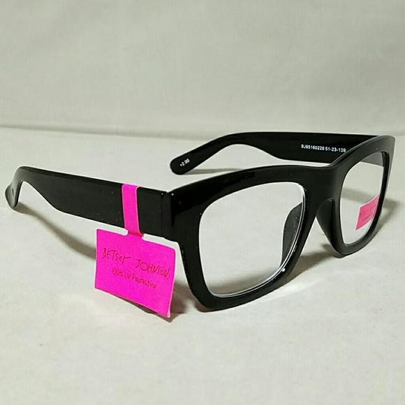 b27ad253d2  NWT  BETSEY JOHNSON +2.0 Wayfarer Reading Glasses