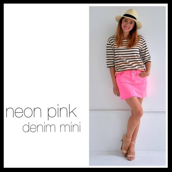 f359bb39fbac J. Crew Skirts   J Crew Denim Mini Skirt Neon Pink   Poshmark