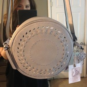 Jessica Simpson Handbags - Gray Boho Round Crossbody Bag Silver Hardware