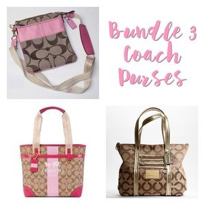 Bundle 3 Coach Signature Items Heritage Tote Bags