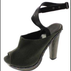 Diesel Shoes - Diesel Moody Woody Yumu Green Peep-Toe Mules Heels