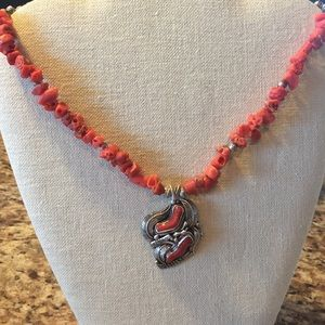 Vintage authentic coral and sterling necklace.