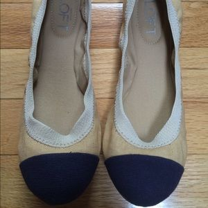 LOFT Shoes - NIB Loft Canvas ballet flats navy and cream
