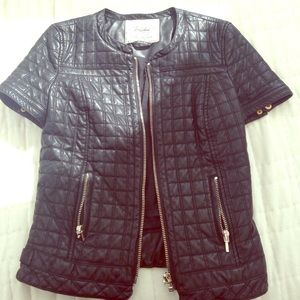 Zara faux leather short sleeve quilted jacket