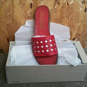 Shoes - Red flat sandals no shoe box