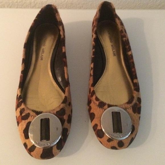Leopard Print Calfhair Flats Size 8