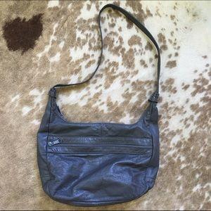 Vintage 80s leather shoulder hobo bag. Grey Gray