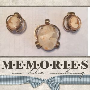 Vintage cream color cameo pendant & earrings