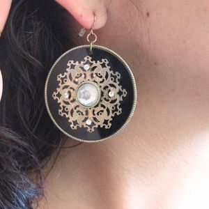 Forever 21 Jewelry - Forever 21 Black and Gold Round Earrings