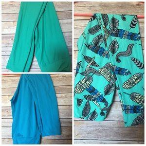 33% off LuLaRoe Pants - LuLaRoe leggings set of 3 blue feather from Stephenieu0026#39;s closet on Poshmark