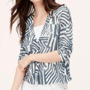 LOFT Abstract Zebra Textural Cardigan - Size L