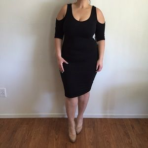 Dresses & Skirts - Cold Shoulder Black Midi Dress*