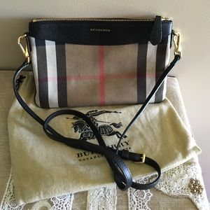 7c5d92357c7c Burberry Bags - Horseferry Check and Leather Clutch Bag black