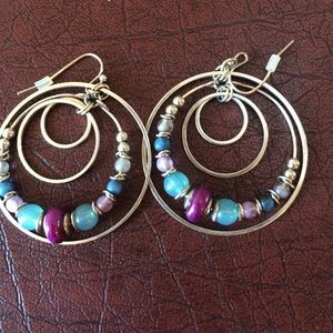 Beaded and silver earrings (necklace to match)