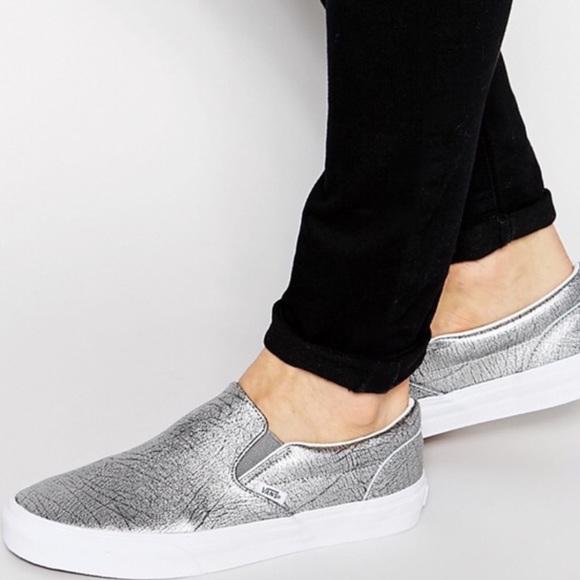40eb355c87 SALE 🐳 Vans metallic silver slip on shoes
