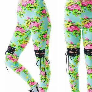 Lip Service Pants - SALE New Dolls Kill Lace Up Floral Leggings Corset