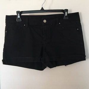 Pants - Low Waist Black Denim Shorts