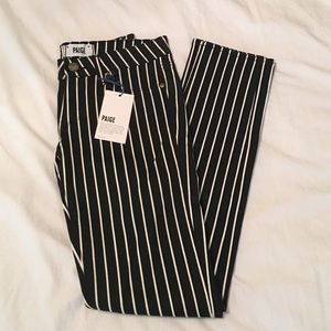 Paige Black/White Striped Ankle Jeans