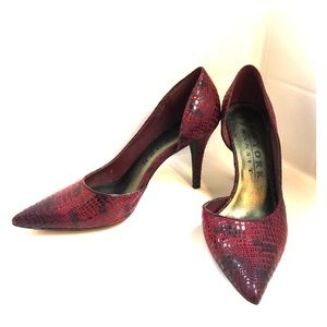 Shoes - Red snakeskin d'orsay pumps