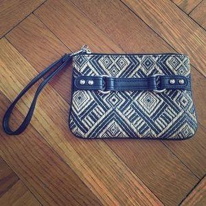 Express Handbags - Express Black and Tan Woven Wristlet