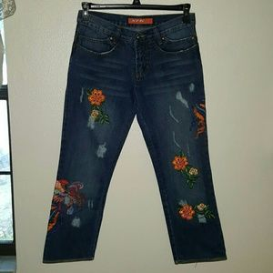 XFN Jeans  Denim - Last Call Donating Distressed Embroidered XFN Jean