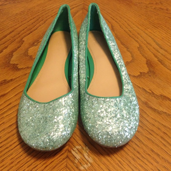 76dcec9490a8 Sparkly Green Flats by NY Co. M 571d3bc16a5830f8a6060944