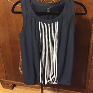 final Sale Ann Taylor blouse navy white