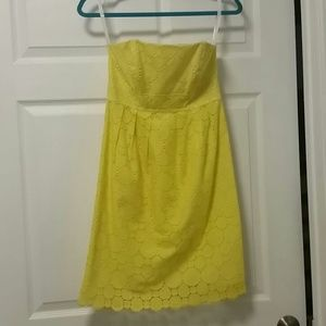 Shoshanna Dresses & Skirts - Shoshanna Yellow Eyelet Strapless Summer Dress