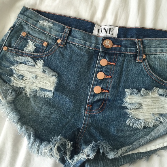 One Teaspoon Shorts - One Teaspoon Bandits w exposed buttons (copper) 27