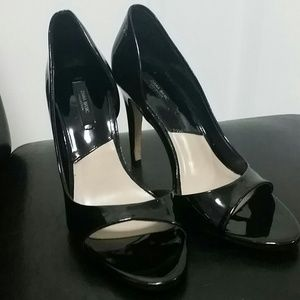 Zara Black Patent Leather D'Orsays Peep-Toe Heels